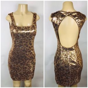 Cache Dress Sequin Bodycon Animal Print Cut out